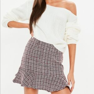MISSGUIDED NWOT red tweed drill skirt
